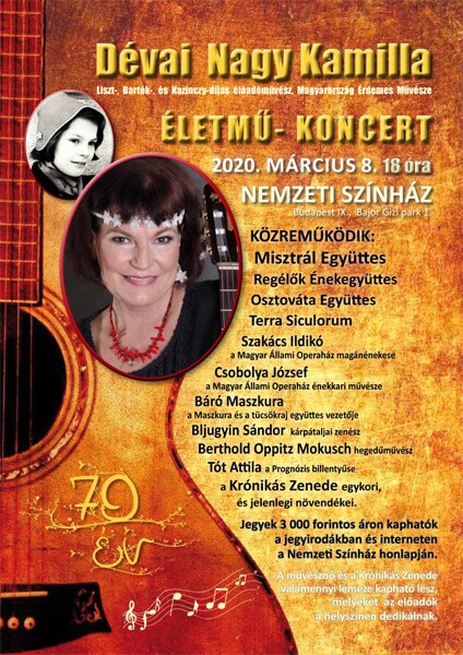 Dévai Nagy Kamilla - Életmű koncert plakát